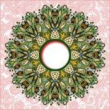 Rundes mit Blumenmuster in ukrainischem orientalischem ethnischem Lizenzfreie Stockfotografie