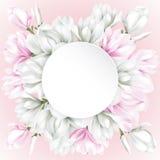Rundes Papier mit den weißen und rosa Blumen Stockfotografie