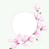 Rundes Papier mit rosa Magnolienblumen Lizenzfreies Stockbild