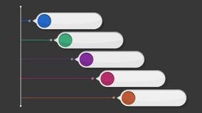 Rundes quadratisches Titelkastendiagramm der Intro fünf, PowerPoint-Darstellungsschablone (enthaltenes Alpha) stock abbildung