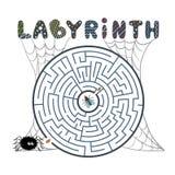 Rundes schwarzes Labyrinth mit Spinne, Fliege und Netz auf weißem Hintergrund Labyrinth der Kind s Spiel für Kinder Puzzlespiel d stock abbildung