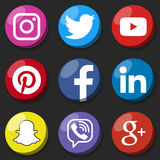 Rundes Social Media-Logo oder Social Media-Ikonenschablonensatz Netzknopf des Sozialen Netzes Lizenzfreie Stockfotografie