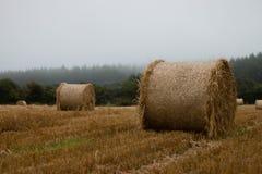 Rundes Straw Bale In Stubble Field lizenzfreie stockfotos