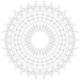 Rundes Verzierung-Muster Kreisförmiges verwickeltes Muster Spitzekreis-Designschablone Abstrakte geometrische Monolinie Hintergru Lizenzfreie Stockbilder