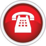 Rundes Zeichen mit einem Telefon Stockfoto