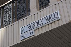 Rundle Mall shopping precinct  in Adelaide, South Australia State Australia. Rundle Mall street sign, a shopping precinct, a very popular local and tourist royalty free stock image