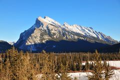 Rundle mountain in banff royalty free stock images