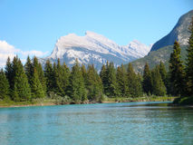 Rundle Mountain from Bow River Banff National Park Royalty Free Stock Photography