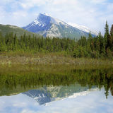 Rundle mountain and its reflection. Stock Images