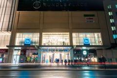 Rundle-Platz nachts, Adelaide-Stadt Lizenzfreie Stockfotografie