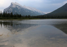 Rundle Reflection. Mount Rundle and one of the Vermilion lakes in the foreground.  Located in Banff National Park, Alberta, Canada Stock Photos