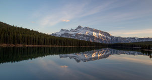 Rundle Reflection. Taken from Two Jack Lake on a beautiful spring evening Stock Photo