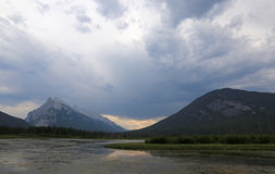 Rundle Sulphur and Clouds Stock Image