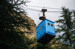 Rundown aerial old cable car in Chiatura. Industrial landmark of Georgia. stock image