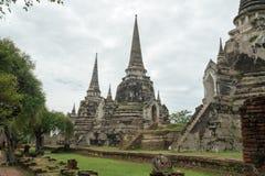 Rundresa Thailand juli 2017 - Ayutthaya - Wat Phra Sri Sanpet Royaltyfri Foto