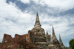 Rundresa Thailand juli 2017 - Ayutthaya - Wat Phra Sri Sanpet Arkivbild