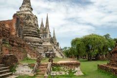 Rundresa Thailand juli 2017 - Ayutthaya - Wat Phra Sri Sanpet Fotografering för Bildbyråer