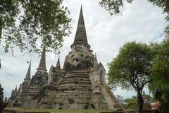 Rundresa Thailand juli 2017 - Ayutthaya - Wat Phra Sri Sanpet Royaltyfria Foton