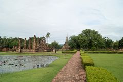 RundresaThailand juli 2017 - Sukhothai - historia parkerar Royaltyfria Bilder