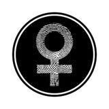Rundschreiben, einfarbiges weibliches Symbol bildete von einer Fingerabdruckikone vektor abbildung