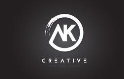 Rundschreiben-Logo AK mit Kreis-Bürsten-Design und Schwarzem Backg Stockbilder