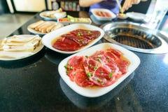 Rundvlees en paddestoel voor BBQ Stock Fotografie