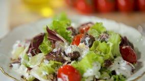 Rundvlees en plantaardige salade stock video