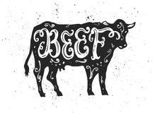 Rundvlees het van letters voorzien in silhouet Stock Fotografie