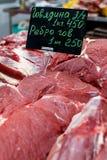 rundvlees Ruw vlees op de markt Royalty-vrije Stock Foto