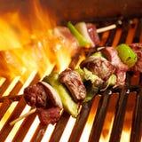 Rundvlees shish kabobs op de grill Royalty-vrije Stock Foto's