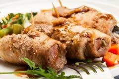 Rundvleesbroodjes en groenten Stock Fotografie