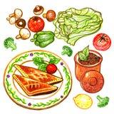 Rundvleesgebakje en de Plantaardige Illustratie van de Tellerskrabbel Stock Foto