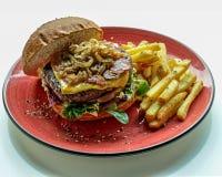 Rundvleeshamburger met aardappels snel voedsel Royalty-vrije Stock Foto