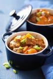 Rundvleeshutspot met aardappel en wortel in blauwe pot Stock Fotografie