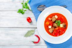 Rundvleeshutspot met groenten of goelasj, traditionele Hongaarse maaltijd stock fotografie