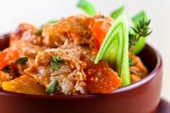 Rundvleeshutspot met wortelen en aardappels Stock Fotografie