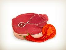 Rundvleeslapje vlees met groenten stock illustratie