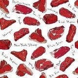 Rundvleeslapjes vlees en vleesbesnoeiingen die naadloze achtergrond van letters voorzien Royalty-vrije Stock Foto's