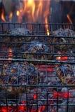 Rundvleeslapjes vlees op de grill stock afbeeldingen