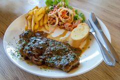 Rundvleeslendestuk geroosterd lapje vlees, close-up royalty-vrije stock fotografie