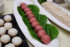 Rundvleesvleesballetjes voor stoomboot/hotpot Stock Foto's