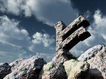 Rune rock under cloudy blue sky Stock Photo