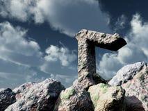 Rune rock under cloudy blue sky Royalty Free Stock Photos