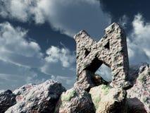 Rune rock under cloudy blue sky Stock Photography