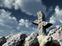 Rune rock under cloudy blue sky Stock Image