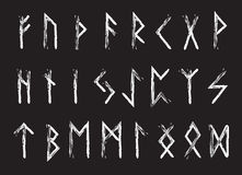 Rune set of letters, runes alphabet. Runic alphabet. Writing ancient. Futhark. Vector illustration Stock Image