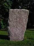 Rune stone. In Uppsla (Sweden Royalty Free Stock Photo