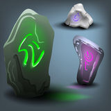 Rune stone set. Vector illustration. Stock Image