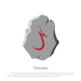 Rune stone on a white background in cartoon style. The object to the game interface Stock Photography