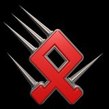 Rune with spikes. Rune symbol with spikes on black background - 3d illustration Royalty Free Stock Photo